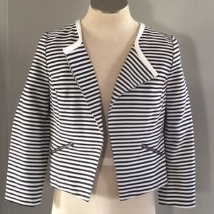 Halogen Black White Striped Open Front Jacket LP
